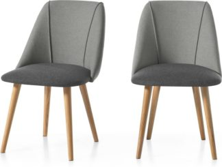 An Image of Set of 2 Lule Dining Chairs, Marl and Hail Grey and Oak