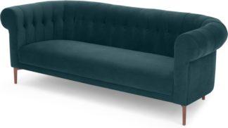 An Image of Hammond 3 Seater Sofa, Lagoon Blue velvet