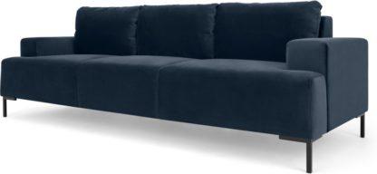 An Image of Frederik 3 Seater Sofa, Sapphire Blue Velvet