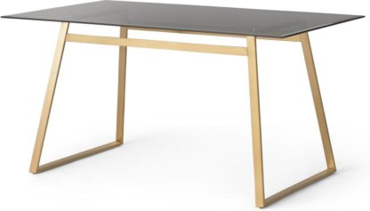 An Image of Haku 6 Seat Dining Table, Brass and Smoked glass