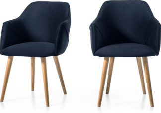 An Image of Set of 2 Lule Carver Dining Chairs, Royal Blue Velvet and Oak