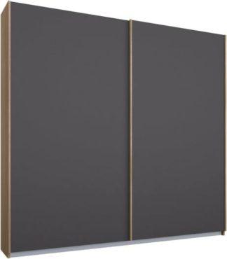 An Image of Malix 2 door 181cm Sliding Wardrobe, Oak frame,Matt Graphite Grey doors, Standard Interior