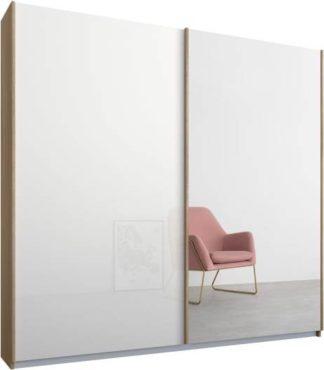 An Image of Malix 2 door 181cm Sliding Wardrobe, Oak frame,White Glass & Mirror doors, Standard Interior