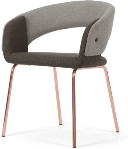 An Image of Ayrmer Chair, Grey and Copper