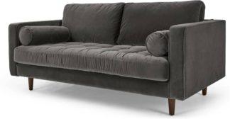An Image of Scott Large 2 Seater Sofa, Concrete Cotton Velvet