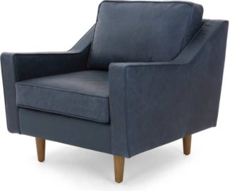 An Image of Dallas Armchair, Charm Midnight Premium Leather