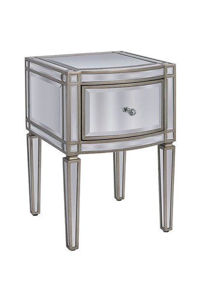 An Image of Antoinette Toughened Mirror One Drawer Bedside Table