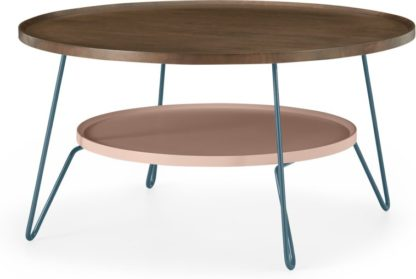 An Image of Dotty Round Coffee table, Dark Stain and Pink