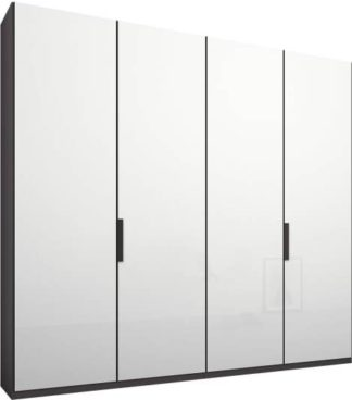An Image of Caren 4 door 200cm Hinged Wardrobe, Graphite Grey Frame, White Glass Doors, Classic Interior