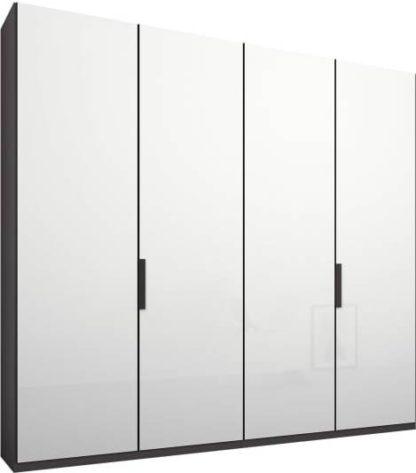 An Image of Caren 4 door 200cm Hinged Wardrobe, Graphite Grey Frame, White Glass Doors, Standard Interior