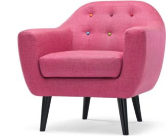 An Image of Ritchie Armchair, Candy Pink with Rainbow Buttons