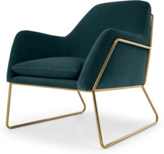 An Image of Frame Accent Armchair, Petrol Cotton Velvet with Bright Gold Frame