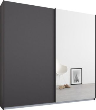 An Image of Malix 2 door 181cm Sliding Wardrobe, Graphite Grey frame,Matt Graphite Grey & Mirror doors, Standard Interior