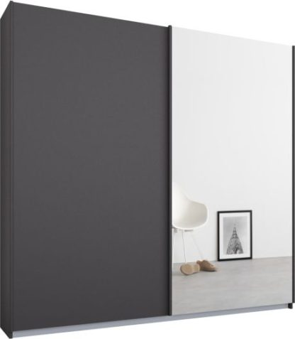 An Image of Malix 2 door 181cm Sliding Wardrobe, Graphite Grey frame,Matt Graphite Grey & Mirror doors, Standard Interior