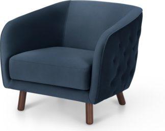An Image of Esther Accent Armchair, Sapphire Blue Velvet