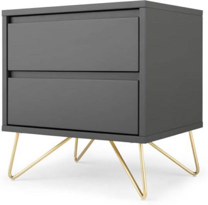 An Image of Elona Bedside Table, Charcoal and Brass