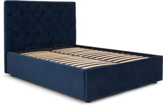 An Image of Skye Double Bed with Storage, Royal Blue Velvet