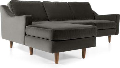 An Image of Dallas Left Hand Facing Chaise End Corner Sofa, Concrete Cotton Velvet