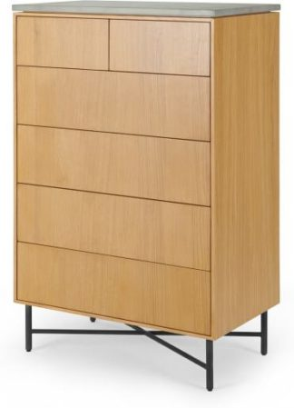 An Image of Dara Tall Chest of Drawers, Oak & Concrete