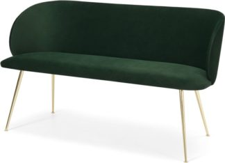 An Image of Adeline Dining bench, Pine green velvet and Brass