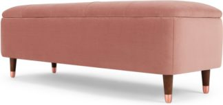 An Image of Margot Ottoman Storage Bench, Blush Pink Velvet