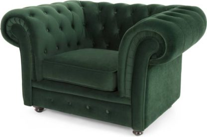 An Image of Branagh Armchair, Pine Green Velvet