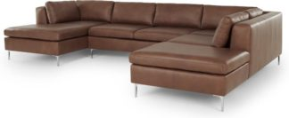An Image of Monterosso Right Hand Facing Corner Sofa, Walnut Brown Leather