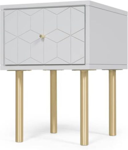 An Image of Hedra Bedside Table, Grey and Brass