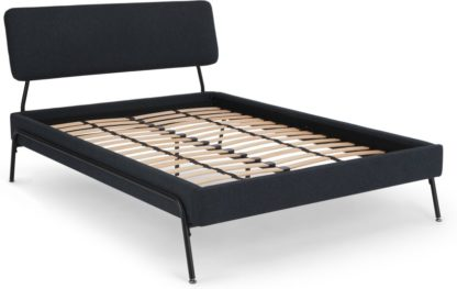 An Image of Knox Double Bed, Demin Blue Weave
