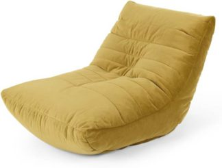 An Image of Audrie Bean Bag Chair, Vintage Gold Velvet