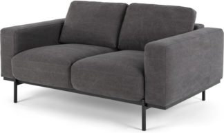 An Image of Jarrod 2 Seater Sofa, Washed Dark Grey Cotton