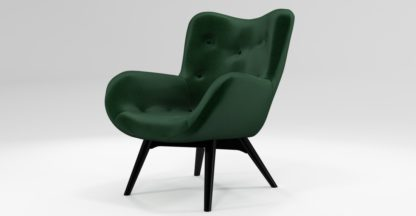 An Image of Custom MADE Doris Accent Chair, Bottle Green Velvet with Black Wood Leg