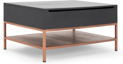 An Image of Lomond Lift Top Coffee Table with Storage, Grey and Copper