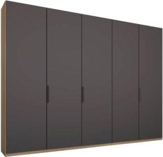 An Image of Caren 5 door 250cm Hinged Wardrobe, Oak Frame, Matt Graphite Grey Doors, Standard Interior