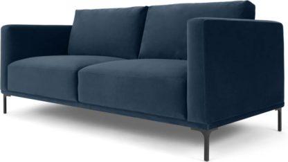 An Image of Milo Large 2 Seater Sofa, Sapphire Blue Velvet