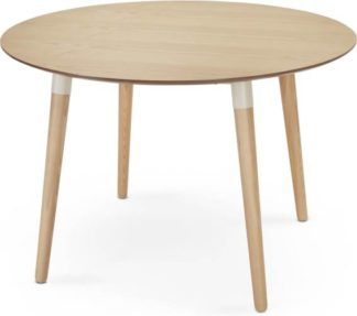 An Image of Edelweiss 4 Seat Round Dining Table, Ash and White