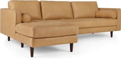 An Image of Scott 4 Seater Left Hand Facing Chaise End Corner Sofa, Chalk Tan Premium Leather
