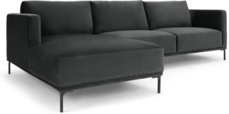 An Image of Milo Left Hand Facing Chaise End Corner Sofa, Midnight Grey Velvet