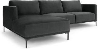 An Image of Milo Left Hand Facing Chaise End Corner Sofa, Midnight Grey Velvet