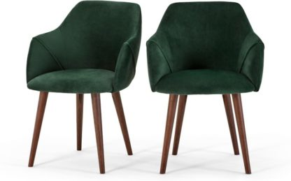 An Image of Set of 2 Lule Carver Dining Chairs, Pine Green Velvet and Walnut