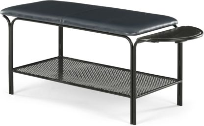 An Image of Dane Hallway Bench, Grey Leather and Black Marble