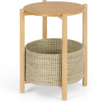 An Image of Pipel Bedside Table, Natural Oak & Rattan