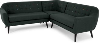 An Image of Ritchie Corner Sofa, Anthracite Grey with Rainbow Buttons
