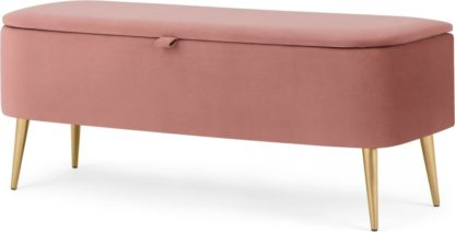 An Image of Eulia Storage Bench Blush Pink Velvet, Brass