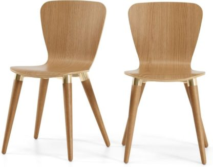 An Image of Set of 2 Edelweiss Dining Chairs, Oak and Brass