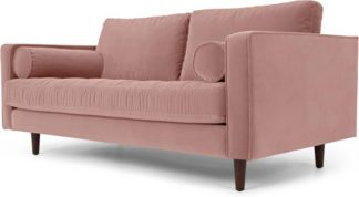 An Image of Scott Large 2 Seater Sofa, Blush Pink Cotton Velvet