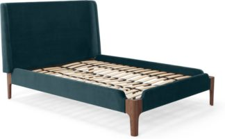 An Image of Roscoe Double Bed, Steel Blue Velvet
