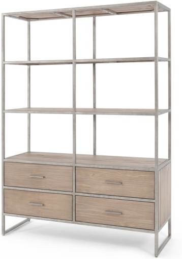 An Image of Mila Shelving Unit, Pine and Metal