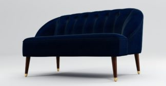 An Image of Custom MADE Margot 2 Seater Sofa, Dark Navy Cotton Velvet with Dark Wood Brass Leg