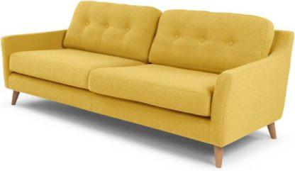 An Image of Rufus 3 Seater Sofa, Mustard Yellow